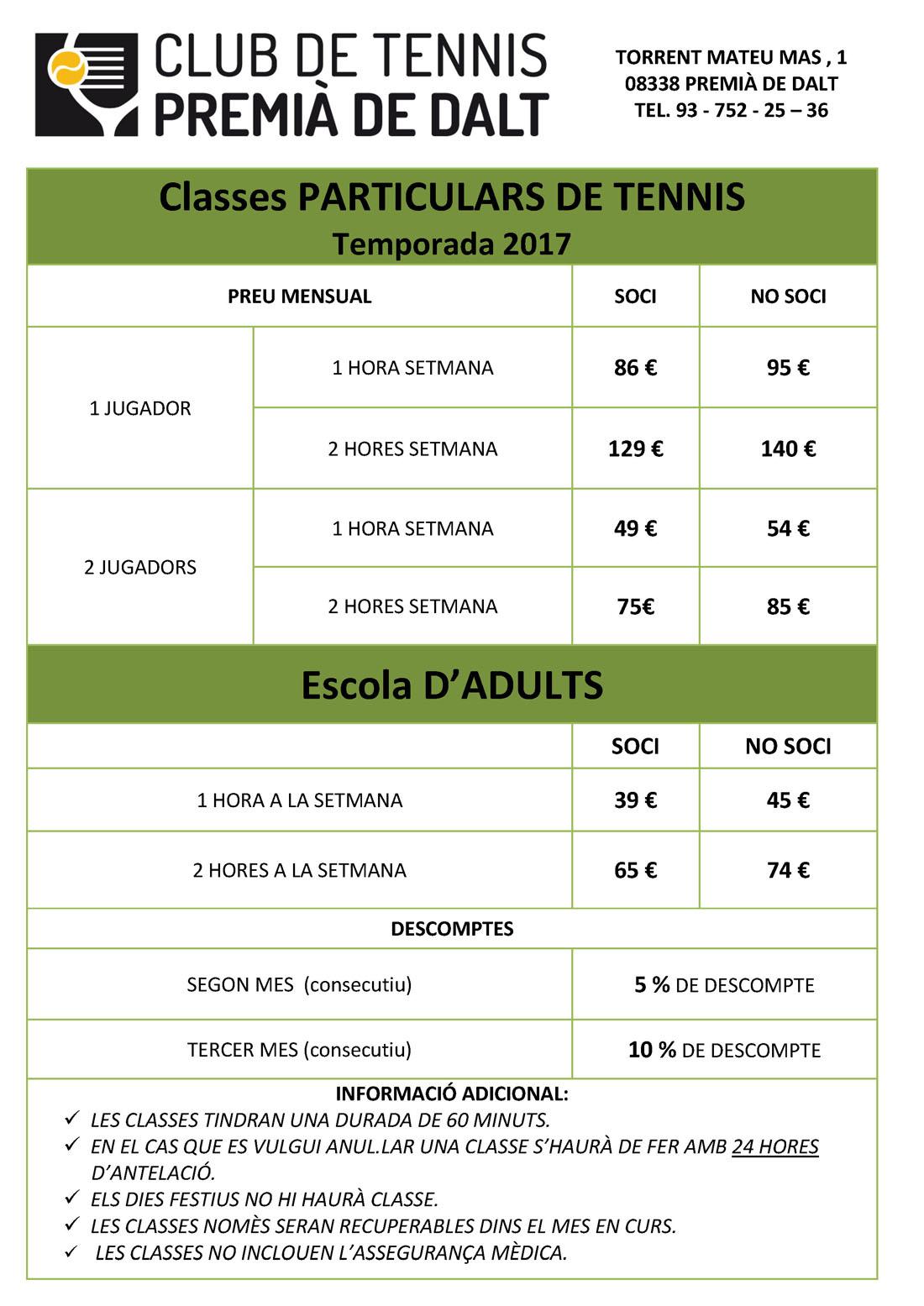 Tarifas clases particulares de tenis.